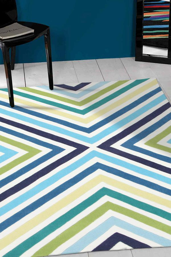 Gold-Cross Roads Design Rug Blue Green-RUG HOME