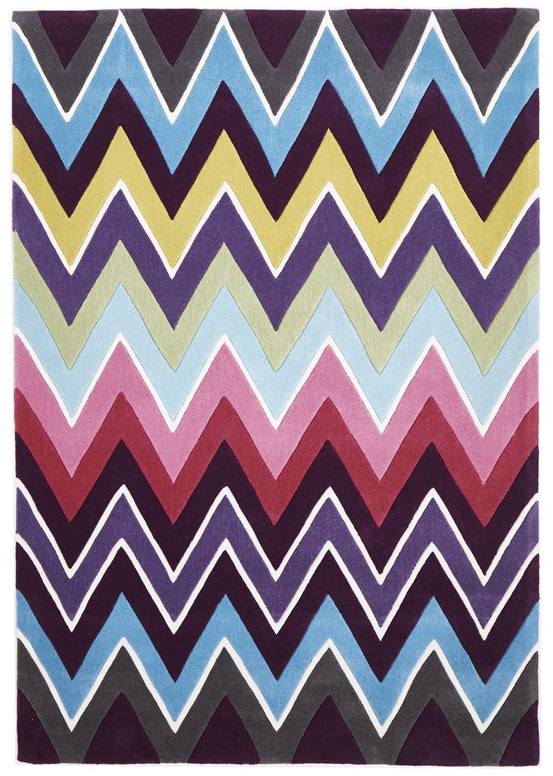 Gold-Eclectic Chevron Rug Multi Coloured-RUG HOME