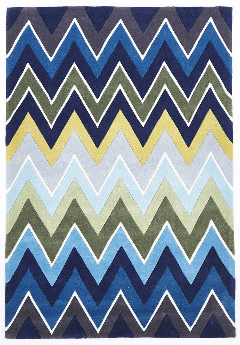 Gold-Eclectic Chevron Rug Navy Blue-RUG HOME