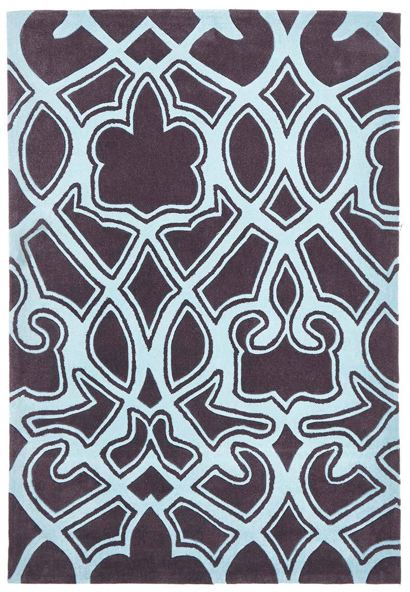 Gold-Gothic Tribal Design Rug Smoke Grey and Blue-RUG HOME