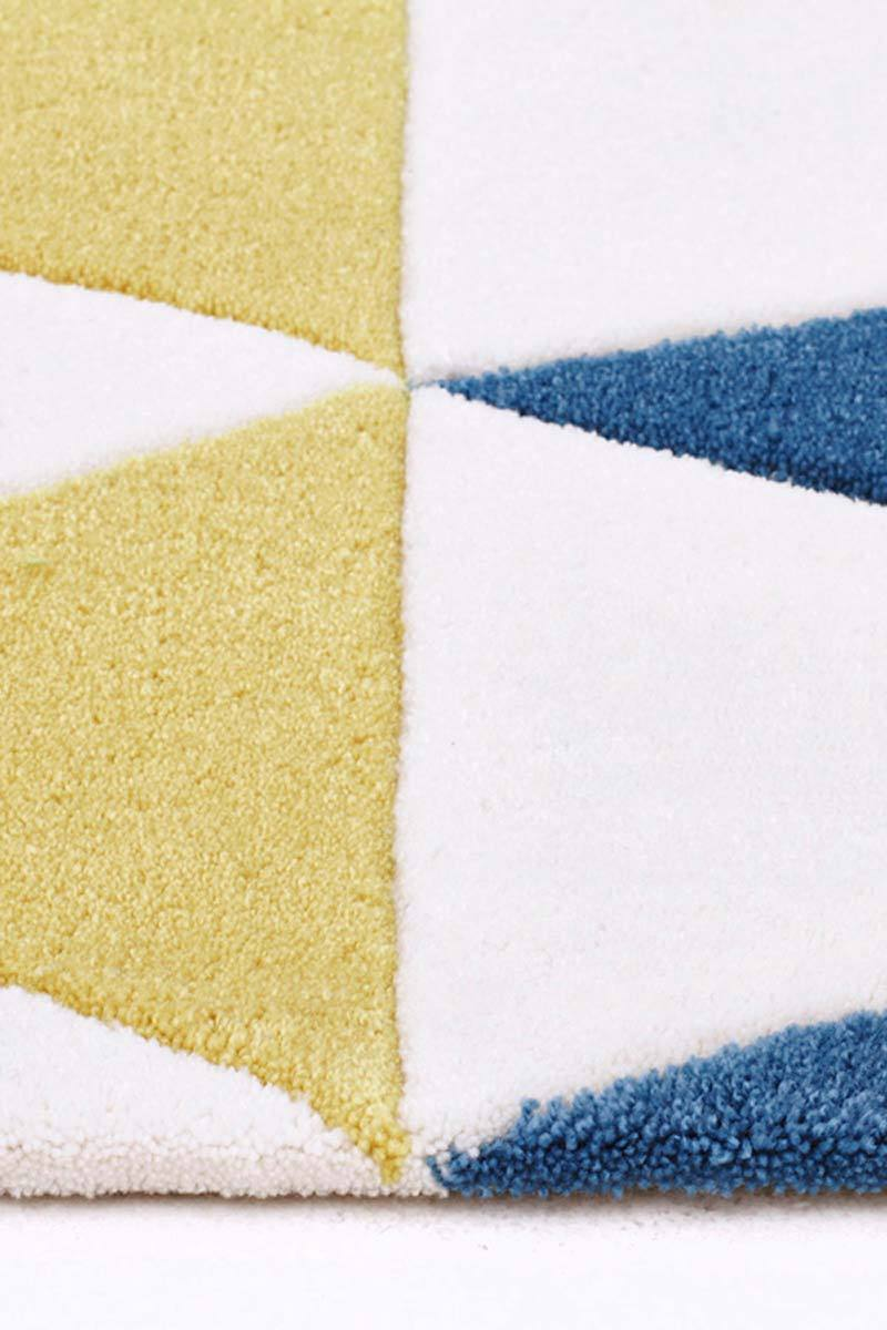 Gold-Modern Bunting Design Rug Multi Blue-RUG HOME