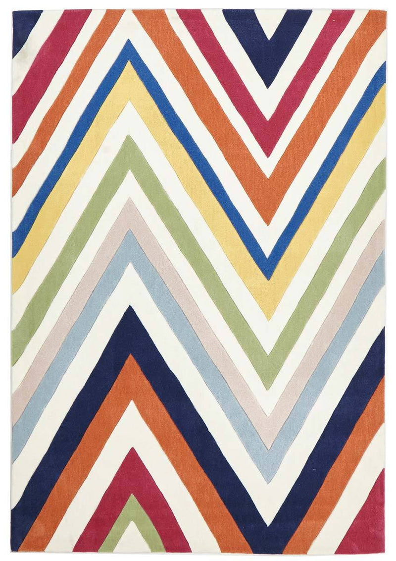 Gold-Stunning Multi Coloured Chevron Rug-RUG HOME