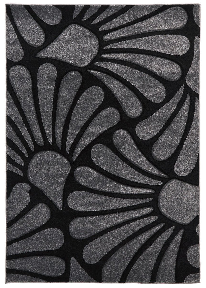 Icon-Damask Modern Fern Rug Charcoal Black-RUG HOME
