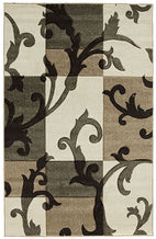 Icon-Squares and Vines Rug Beige Brown-RUG HOME