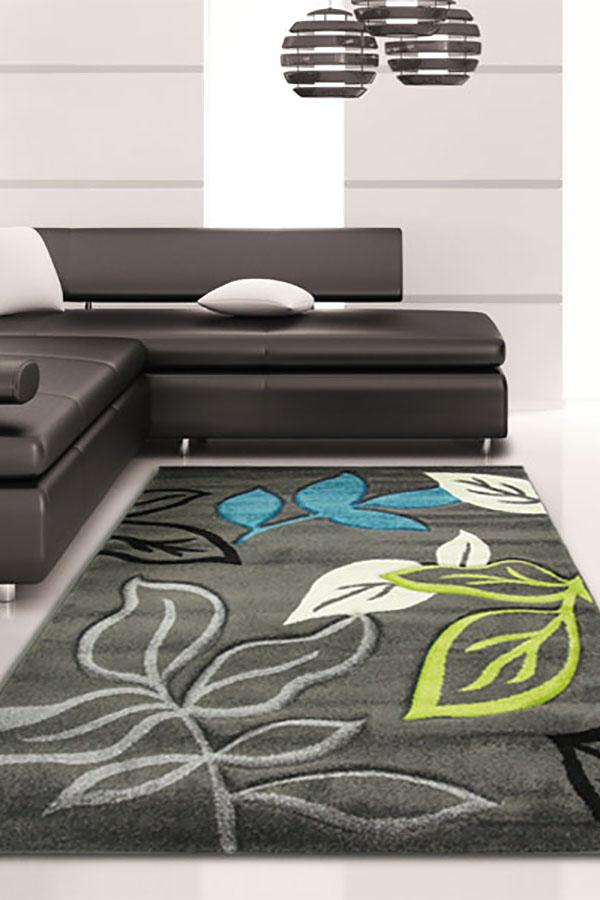 Icon-Stunning Thick Leaf Rug Charcoal-RUG HOME