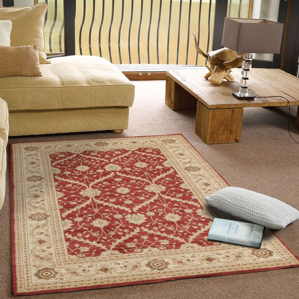 Jewel-Chobi Design Rug Red Bone-RUG HOME
