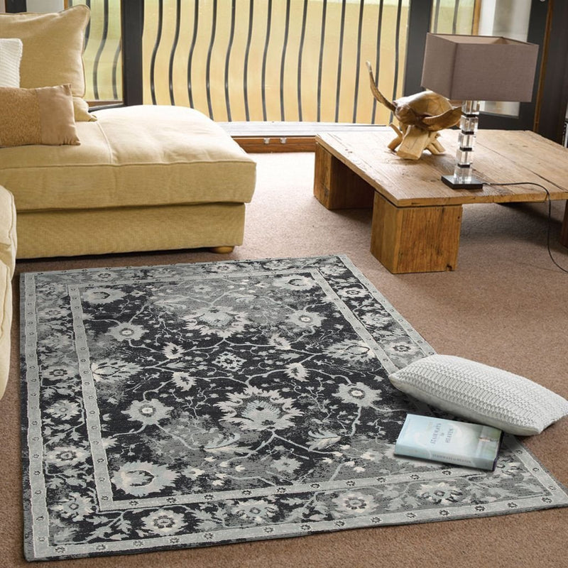 Jewel-Nain Persian Design Rug Navy Blue Grey-RUG HOME