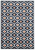 Marque-Indoor Outdoor Bianca Rug Navy Orange-RUG HOME
