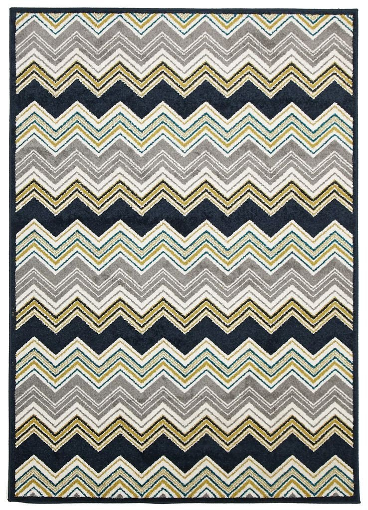 Marque-Indoor Outdoor Chevron Rug Navy-RUG HOME