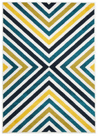 Marque-Indoor Outdoor Hex Rug Blue Blue Navy-RUG HOME
