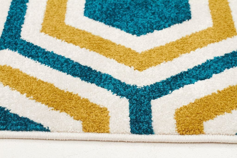 Marque-Indoor Outdoor Honeycomb Rug Blue Citrus-RUG HOME