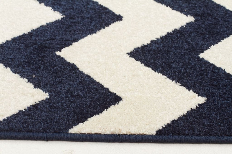 Marque-Indoor Outdoor Zig Zag Rug Navy-RUG HOME