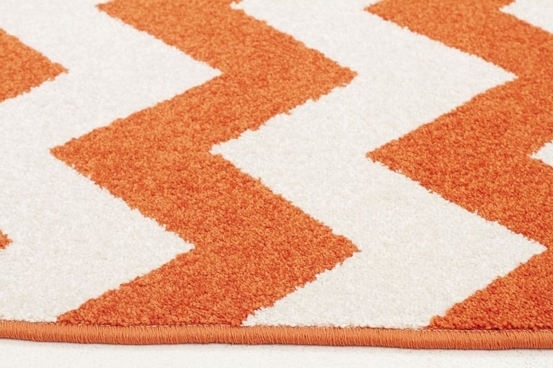 Marque-Indoor Outdoor Zig Zag Rug Orange-RUG HOME