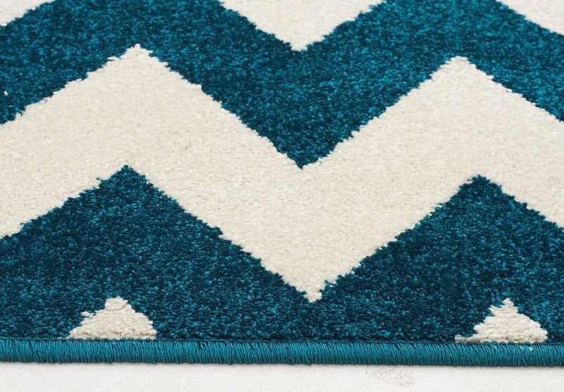 Marque-Indoor Outdoor Zig Zag Rug Peacock Blue-RUG HOME