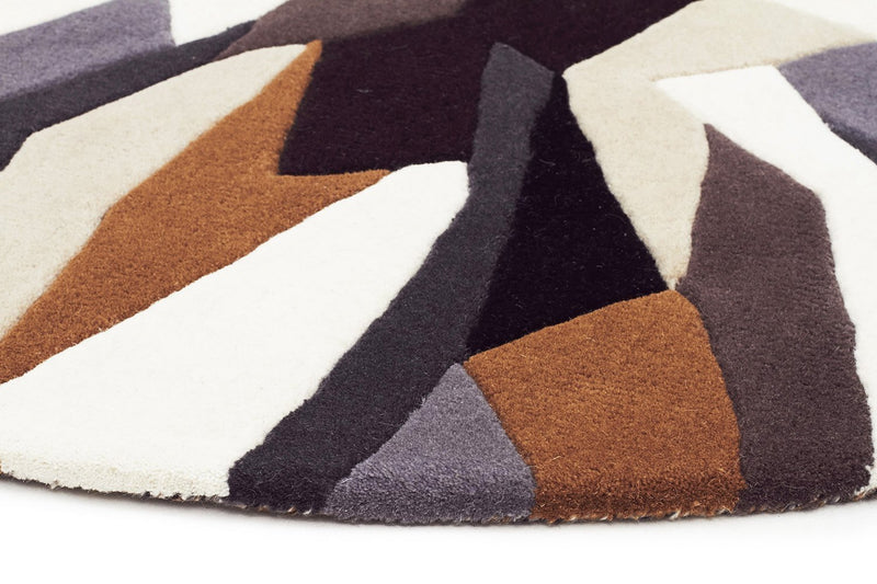 Matrix-Crossroads Designer Wool Rug Brown White Grey-RUG HOME