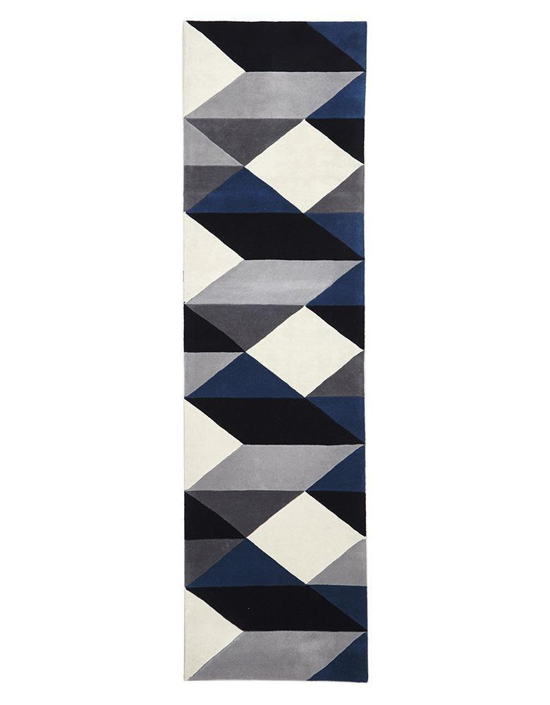 Matrix-Digital Designer Wool Rug Blue Grey White-RUG HOME