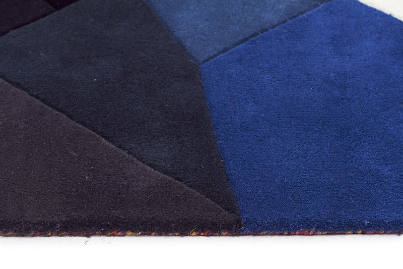 Matrix-Eclectic Designer Wool Rug Blue Rust Purple-RUG HOME