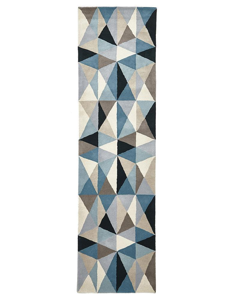 Matrix-Gem Stone Designer Wool Rug Blue-RUG HOME