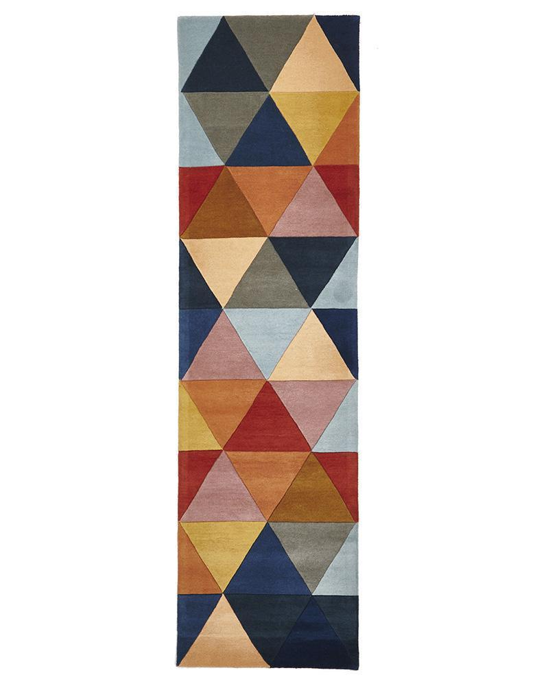 Matrix-Prism Designer Wool Rug Rust Blue Navy-RUG HOME