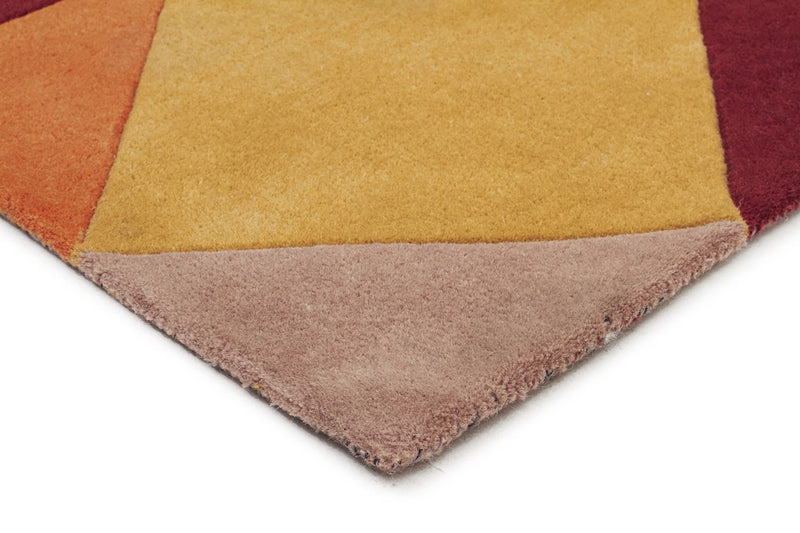 Matrix-Sandy Designer Wool Rug Rust Blue Navy-RUG HOME