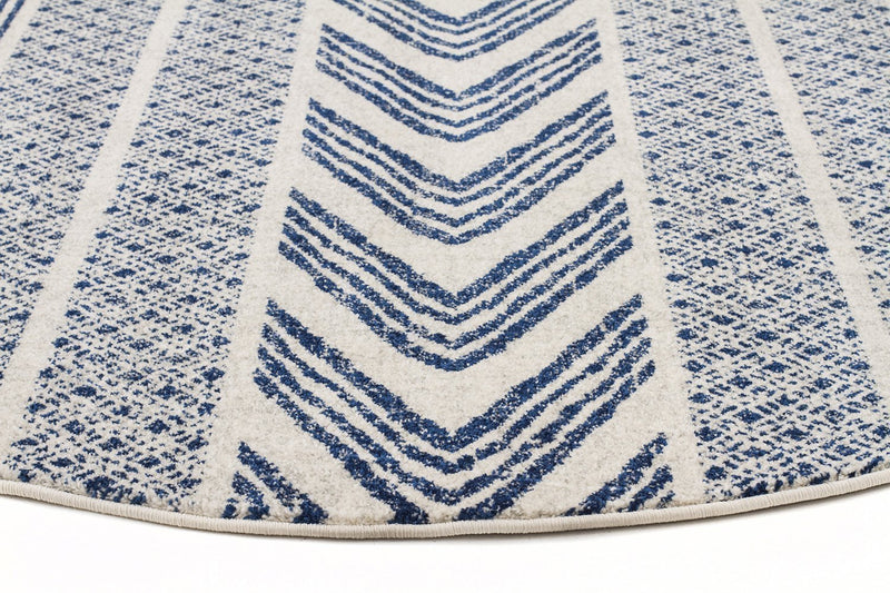 Mirage-Adani Modern Tribal Design Navy Round Rug-RUG HOME