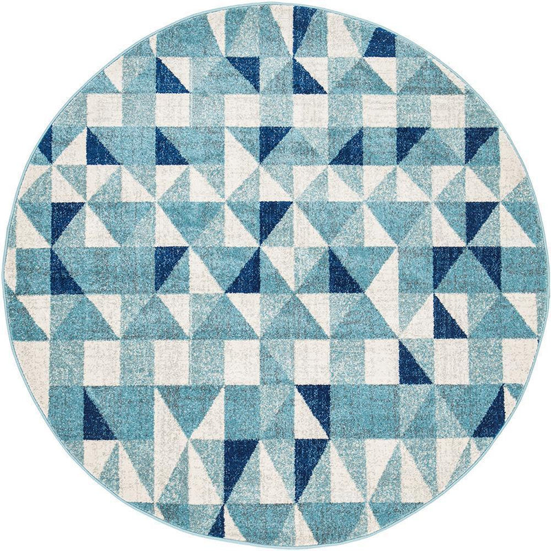 Mirage-Illusion Modern Geo Blue Ivory Round Rug-RUG HOME