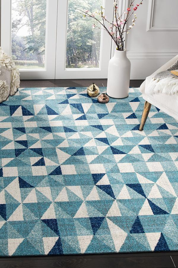 Mirage-Illusion Modern Geo Blue Ivory Rug-RUG HOME