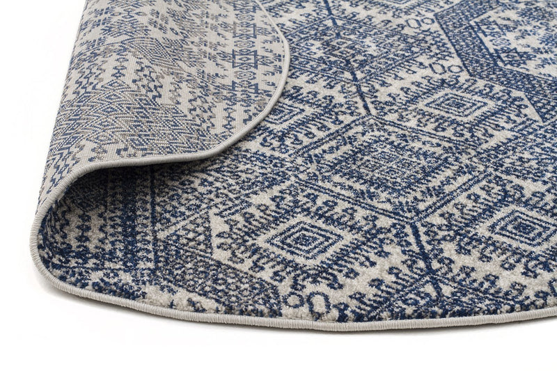 Mirage-Zelda Grey Navy Round Rug-RUG HOME