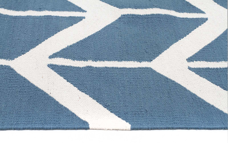 Modern-Fantasy Firefly Beautiful Blue Chevron Handmade Wool Rug-RUG HOME