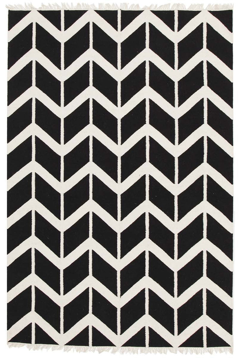 Modern-Fantasy Firefly Black Chevron Dreams Handmade Wool Rug-RUG HOME