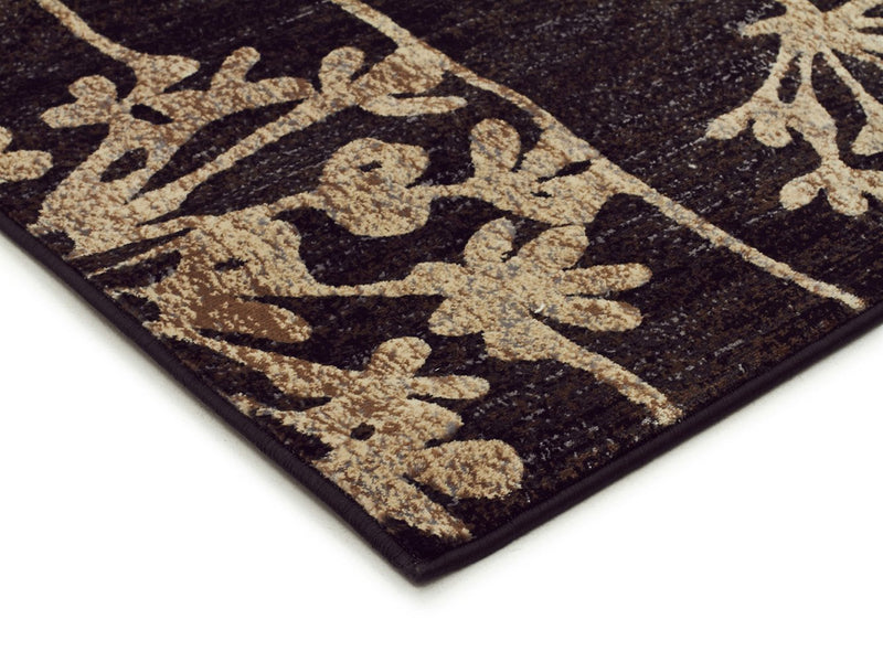 Mystique-Delicate Floral Pattered Rug Black-RUG HOME