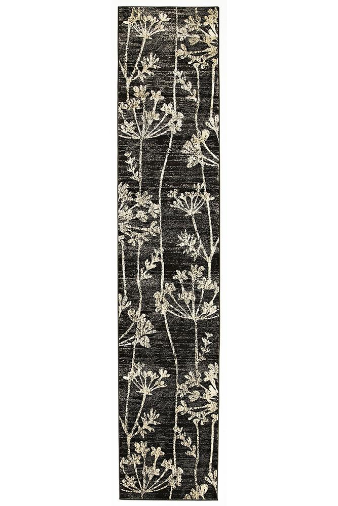 Mystique-Delicate Floral Pattered Rug Grey-RUG HOME
