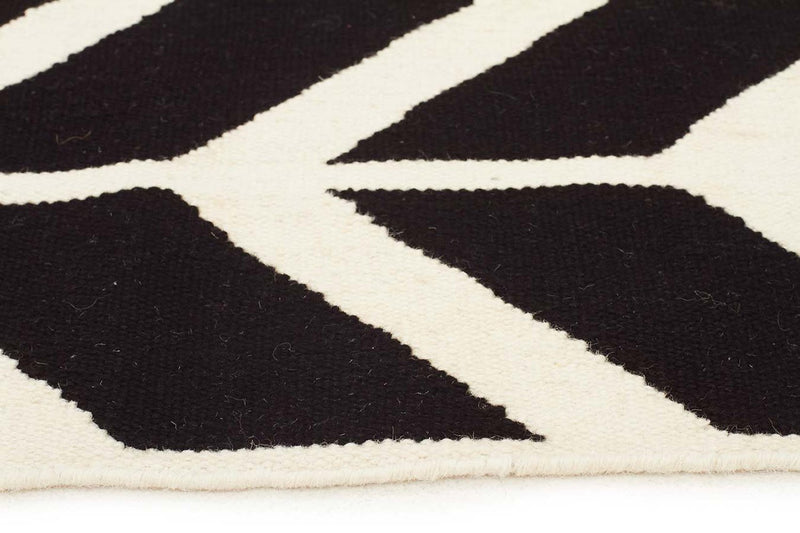 Nomad-Chevron Flat Weave Rug Black-RUG HOME