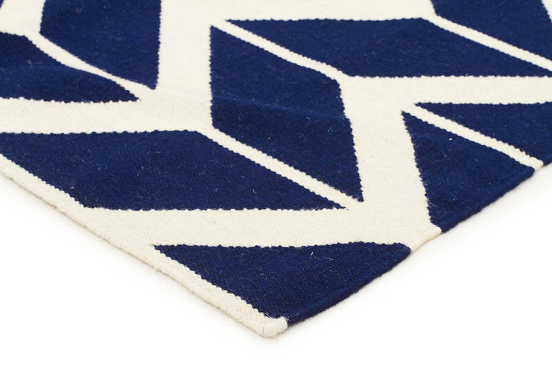 Nomad-Chevron Flat Weave Rug Navy-RUG HOME