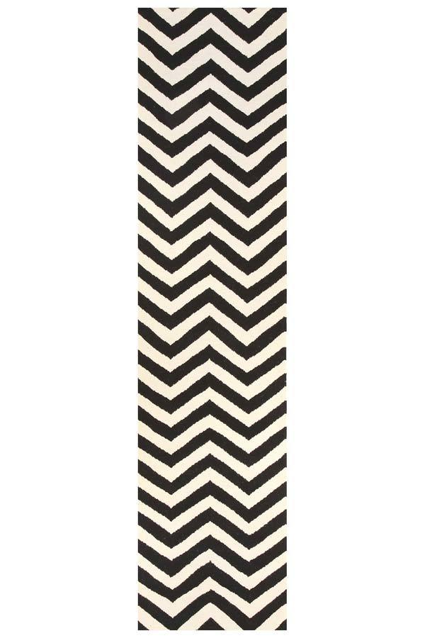 Nomad-Flat Weave Chevron Design Rug Black White-RUG HOME