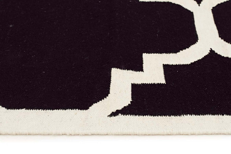 Nomad-Flat Weave Large Moroccan Design Rug Black-RUG HOME
