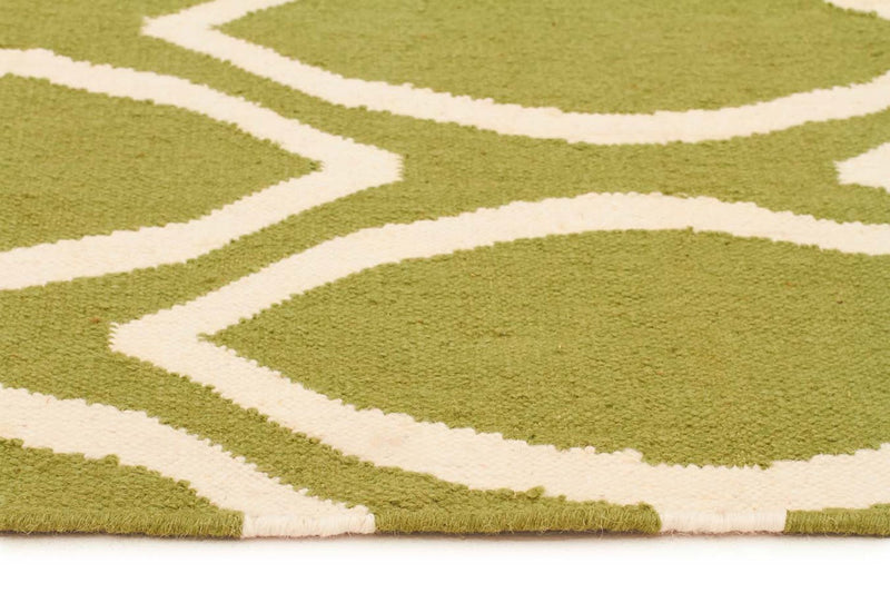 Nomad-Flat Weave Oval Print Rug Green-RUG HOME