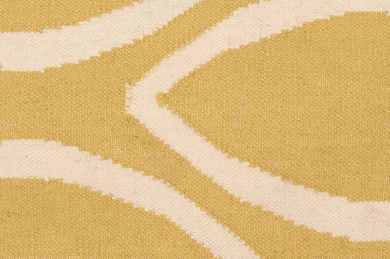Nomad-Flat Weave Oval Print Rug Yellow-RUG HOME