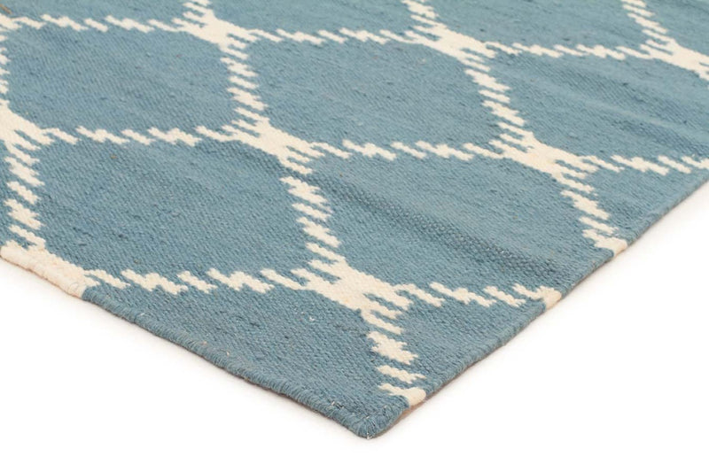 Nomad-Flat Weave Stitch Design Rug Blue-RUG HOME