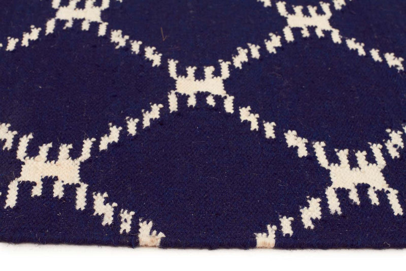 Nomad-Flat Weave Stitch Design Rug Navy-RUG HOME