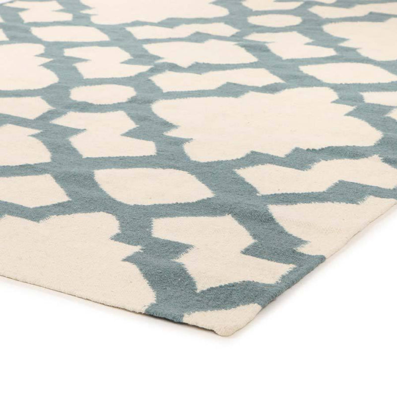 Nomad-Flat Weave Trellis Design Light Blue White Rug-RUG HOME
