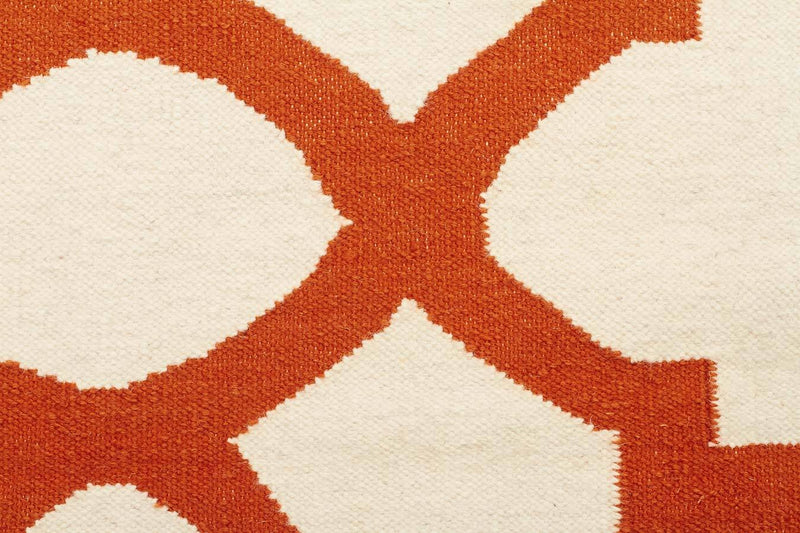 Nomad-Flat Weave Trellis Design Orange White Rug-RUG HOME