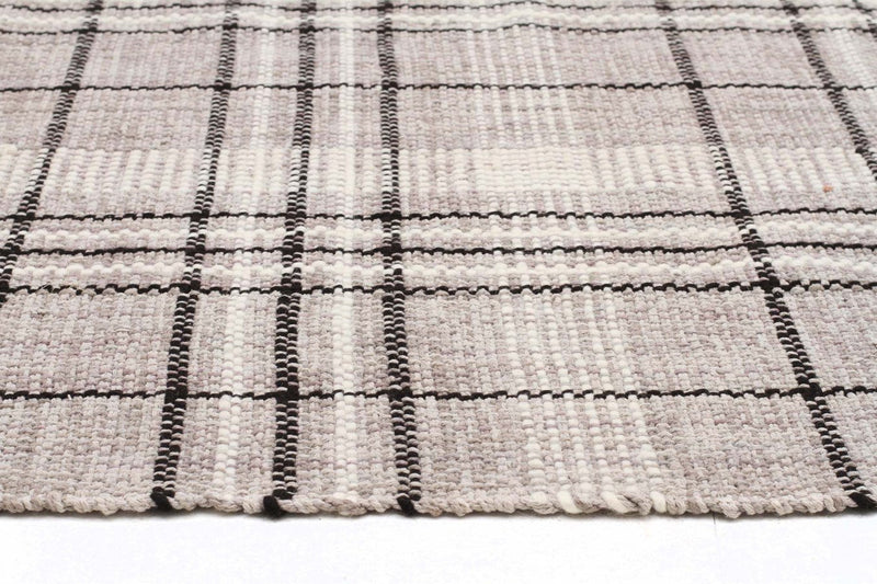 Nordic-Striped Cotton Wool Flat woven Grey Rug-RUG HOME