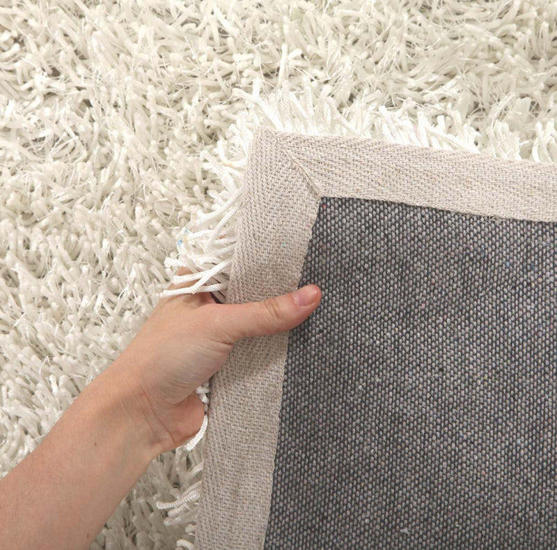 Orlando-Metallic Thick, Thin Shag Rug Crisp White-RUG HOME