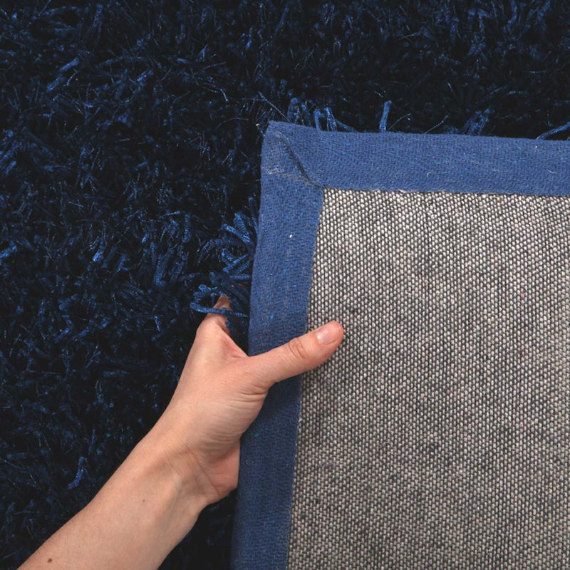 Orlando-Metallic Thick, Thin Shag Rug Dark Blue-RUG HOME