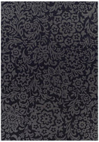Pavillion-Indoor Outdoor Fine Damask Design Rug Black-RUG HOME