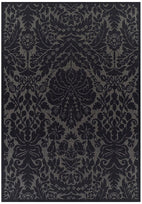 Pavillion-Indoor Outdoor Lace Damask Design Rug Black-RUG HOME