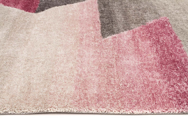 Prism-Penny Pink Grey Textured Multi Coloured Rug-RUG HOME