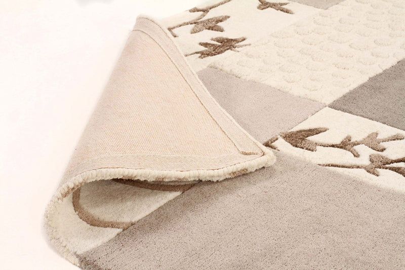 Sari-Designer Wool Rug Patch Grey Cream-RUG HOME