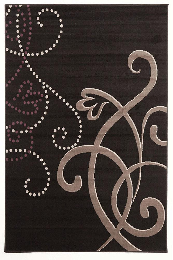 Silver BCF-Art Deco Rug Black Grey Purple-RUG HOME